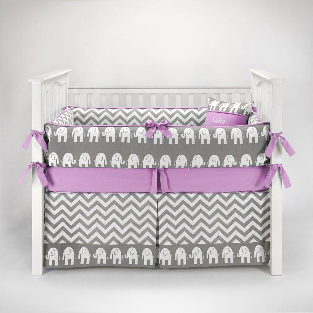 Elephant Chevron Zig Zag Gray & Lilac Baby Bedding - 5pc Crib Set by Sofia Bedding by Sofia Bedding