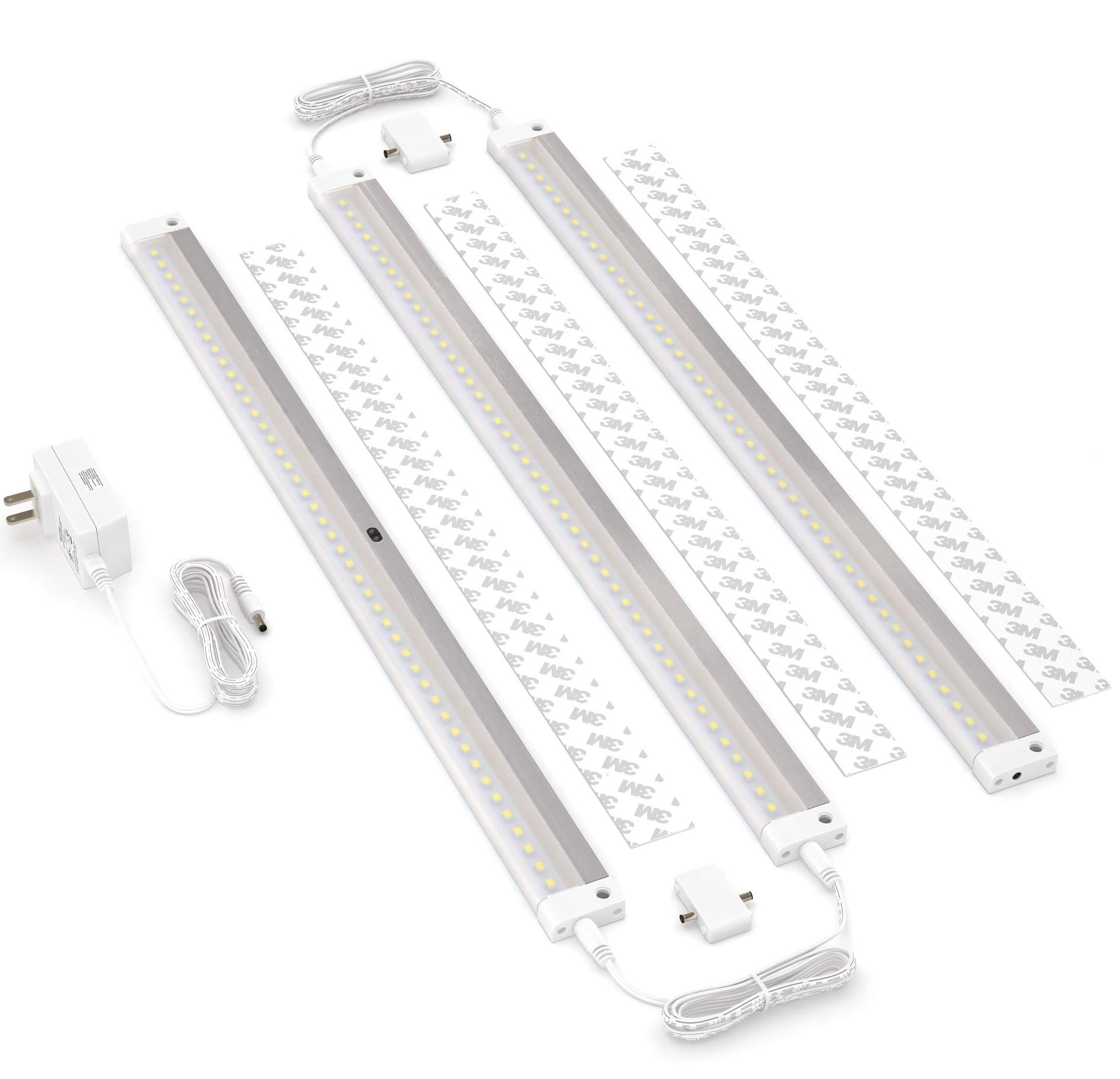 EShine White Finish 3 Extra Long 20 inch Panels LED Dimmable Under Cabinet Lighting Kit, Hand Wave Activated - Touchless Dimming Control, Warm White by EShine