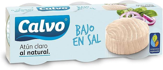 Calvo - Atún Claro al natural, bajo en sal, Pack, 3 x 80 g: Amazon.es: Alimentación y bebidas