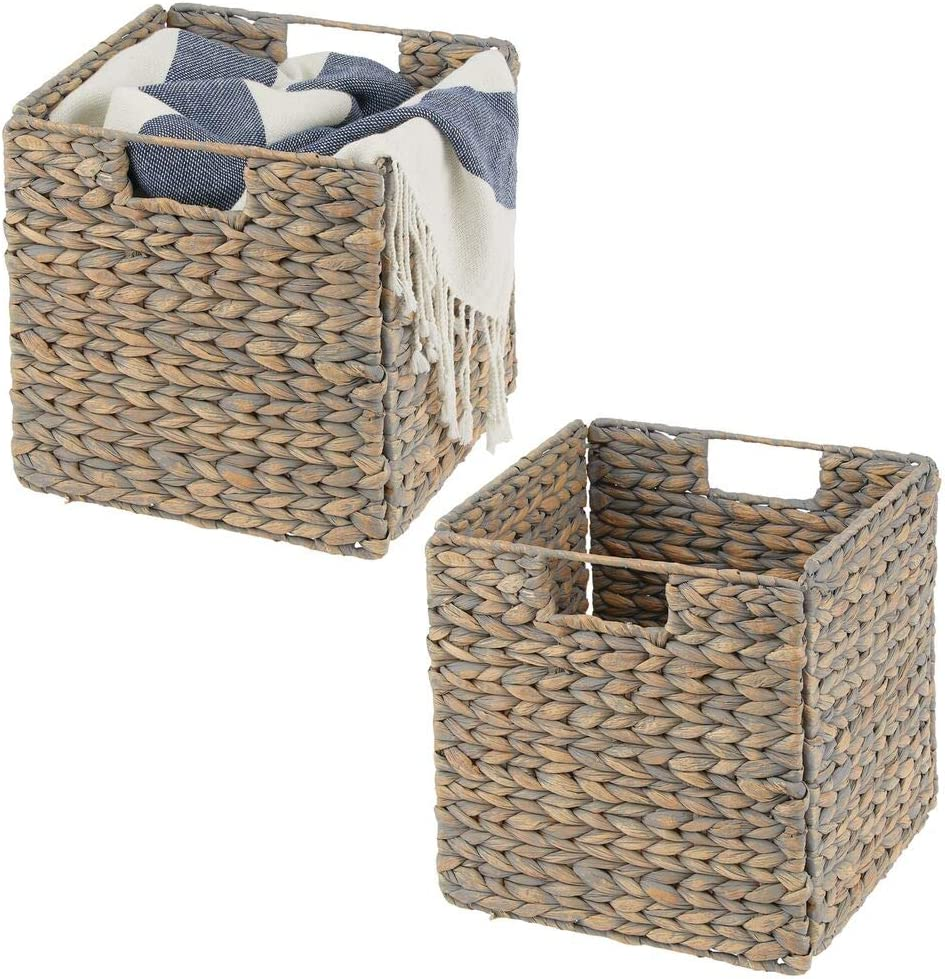 mDesign Natural Woven Hyacinth Closet Storage Organizer Basket Bin - Collapsible - for Cube Furniture Shelving in Closet, Bedroom, Bathroom, Entryway, Office - 10.5 Inches High, 2 Pack - Gray