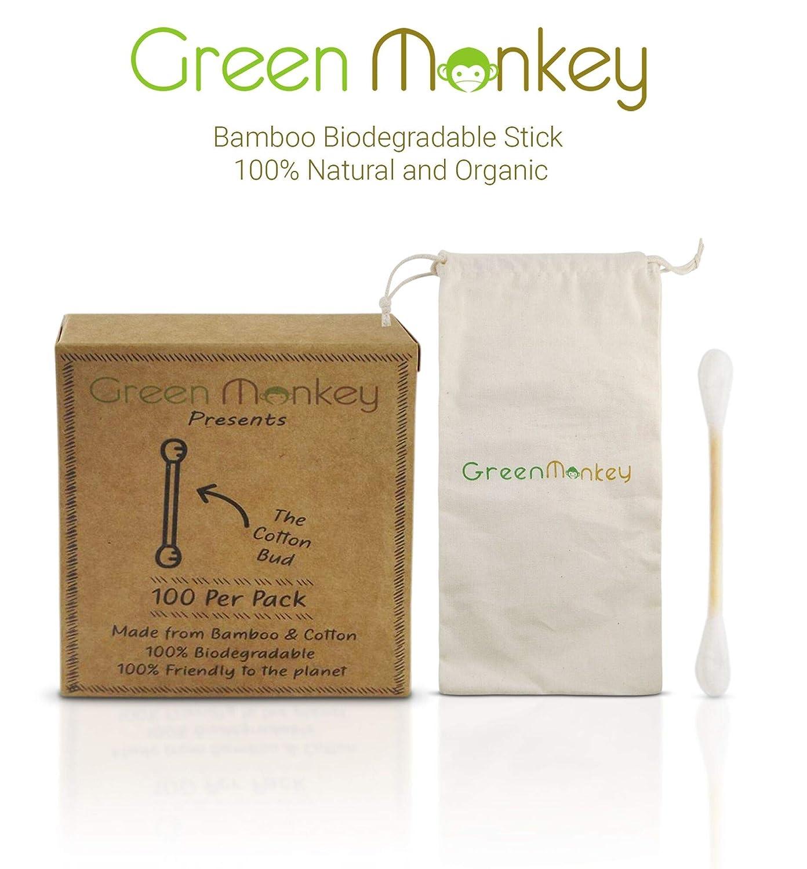 Biodegradable eco amigable orgánico madera bambú algodón yemas-sostenible/reciclable/vegano/desechables/cero embalaje plástico/5 Pack=500 cogollos + libre ...
