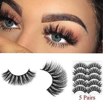 248b81f1992 Amazon.com : Mixed 3D Mink Hair False Eyelashes Full Strips Thick Cross Long  Lashes Wispy Fluffy Eye Makeup Tools5 Pairs (Q4) : Beauty