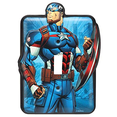 Open Road Brands Marvel Captain America Tin Metal Light Switch Plate - an Officially Licensed Product Great Addition to Add What You Love to Your Home/Garage Decor: Home & Kitchen