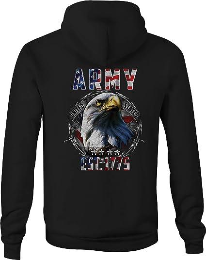 US Army Retro Ranger Mens Full-Zip Up Hoodie Jacket Pullover Sweatshirt