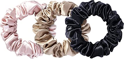 100/% Silk Hair Skinny Scrunchie In Bursting Pink And Turquoise Blue Printed Silk