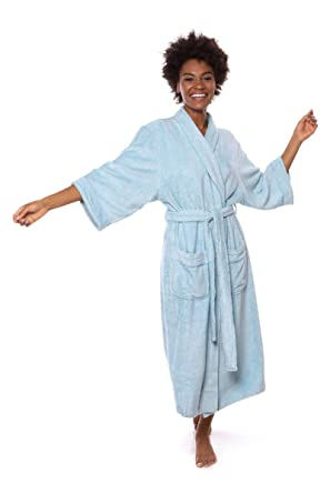 8e8a78d9eec27 Women's Luxury Terry Cloth Bathrobe - Bamboo Viscose Robe by Texere  (Ecovaganza, Robin's Egg