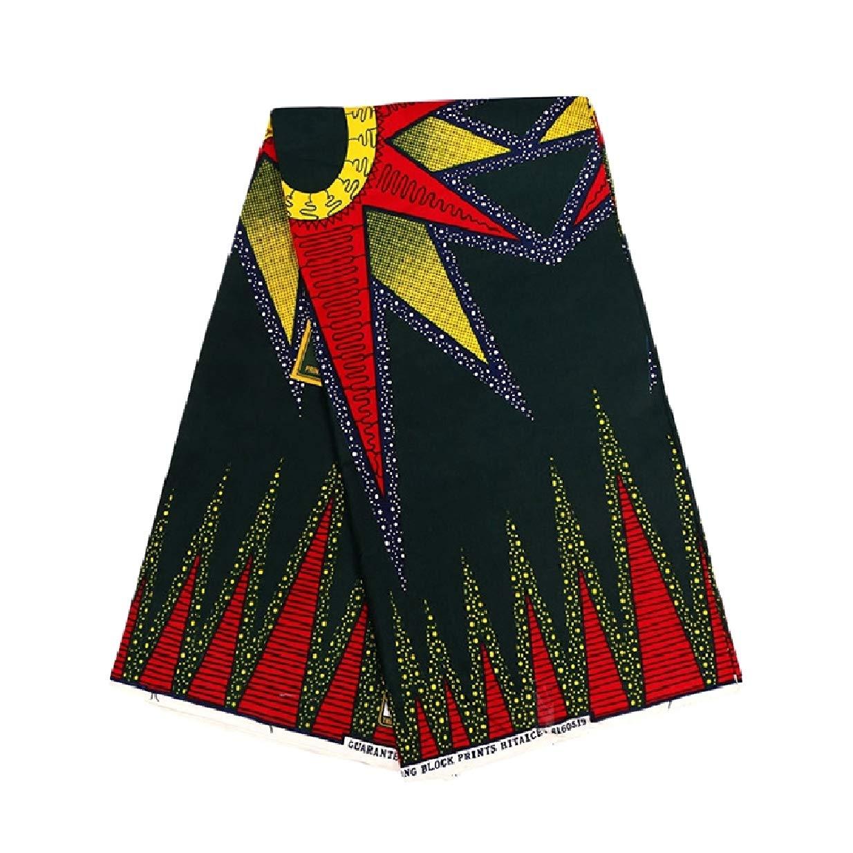 NestYu Women Dashiki Batik African Wax Fabric Soft Plush Apparel Fabric Blackish Green OS