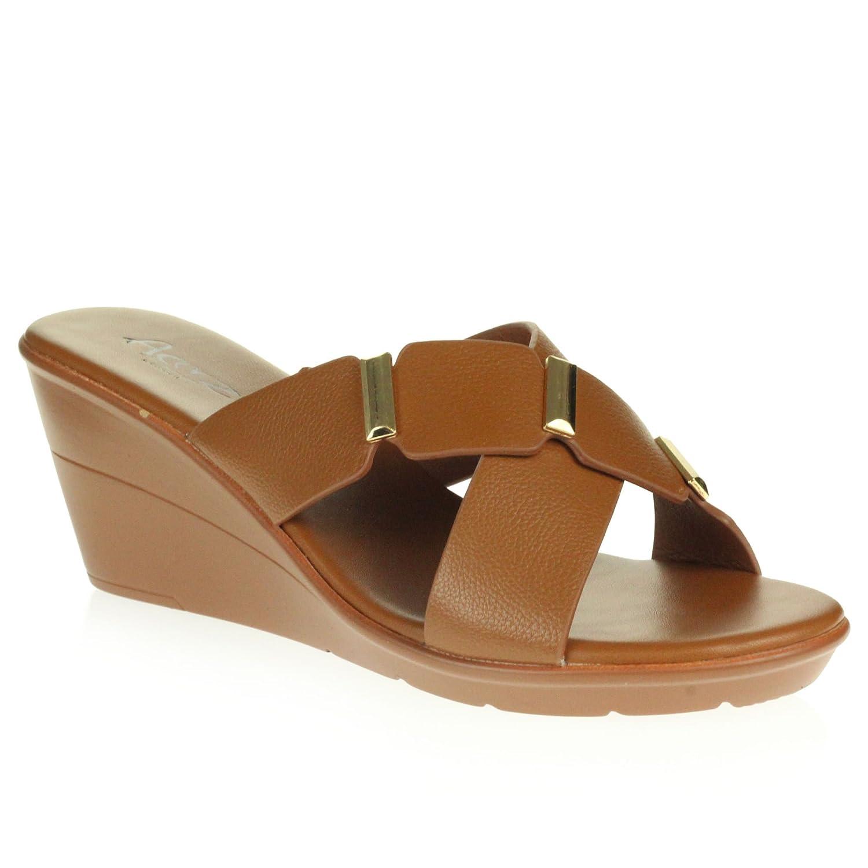 Femmes Dames Été Open Toe Décontractée Confort Poids léger Talon compensé Moyen Glisser sur des Sandales Chaussures Taille L4521