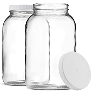 Paksh Novelty 1-Gallon Glass Jar Wide Mouth with Airtight Plastic Lid - USDA Approved BPA-Free Dishwasher Safe Large Mason Jar for Fermenting, Kombucha, Kefir, Storing and Canning Uses, Clear (2 Pack)