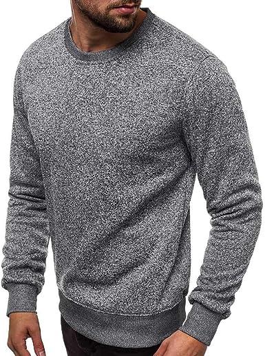 Hombres Slim Fit Cuello Redondo Tops de Color sólido Camisa Muscular de Manga Larga Blusas para Hombre Moda Casual Camiseta Sudadera con Capucha: Amazon.es: Ropa y accesorios