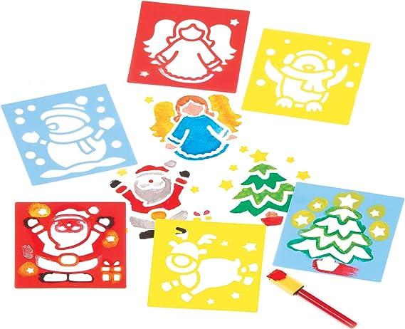 10 St/ück festlicher Bastelspa/ß f/ür Kinder Baker Ross AT211 Holzmagneten Weihnachten holzfarben