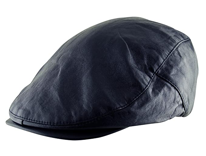 a2719a6992f Itzu Men s Flat Cap Plain Faux Leather Hat Pre Curved Lined Vintage Gatsby  Golf Newsboy in
