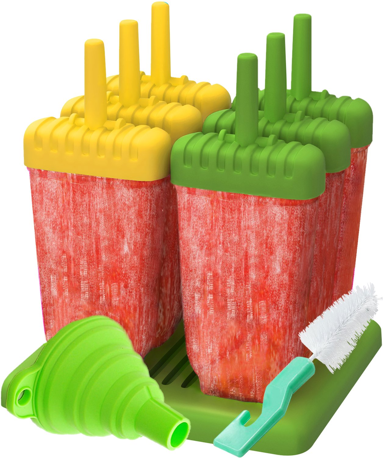 Ozera Popsicle Molds Maker Reusable Ice Pop Molds Trays for Homemade Popsicles With Silicone Funnel /& Cleaning Brush Three Colors Set of 6
