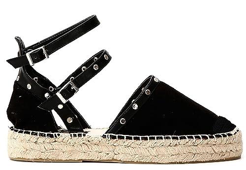 Sandalo Caf�� Noir GD931 Scarpe Donna in Tessuto Effetto Suede Nero e Fondo Corda 35 NdPYgch4w