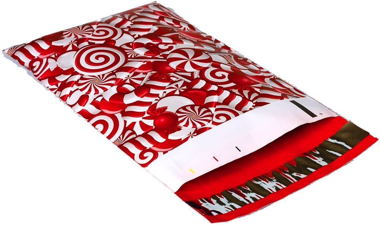 Designer Poly Mailers Shipping Envelopes Red, White 25 Pack 10x13 Candy Cane Christmas