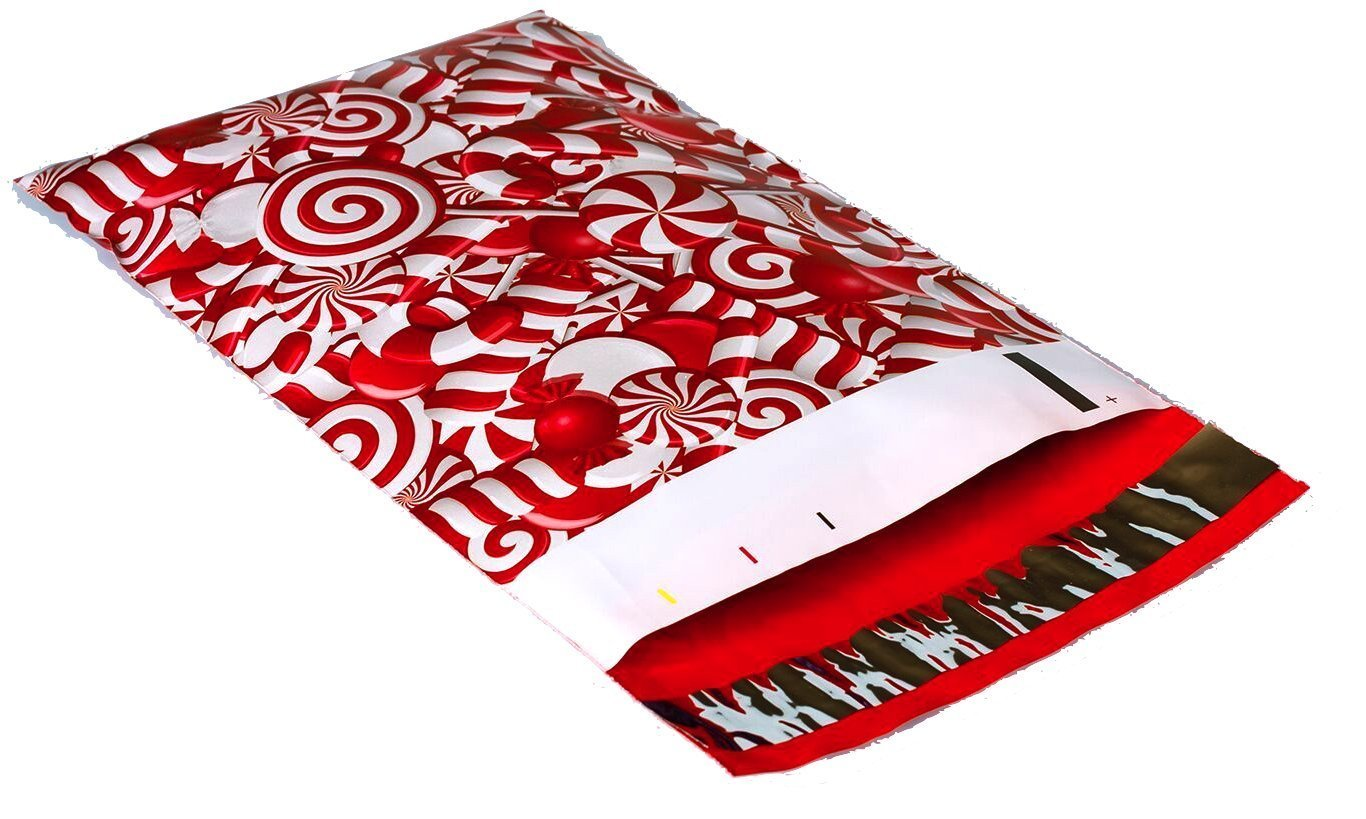 10x13 Candy Cane Christmas (Red, White) Designer Poly Mailers Shipping Envelopes - 50 Pack