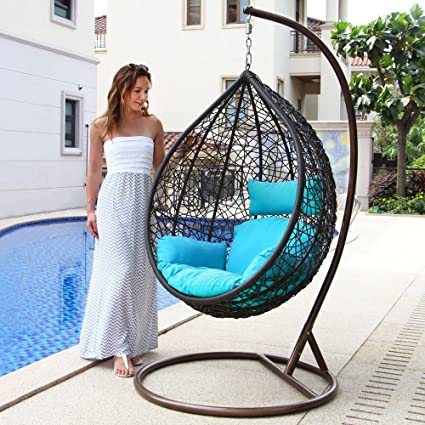 Island Gale Hanging Basket Chair Outdoor Front Porch Furniture With Stand  And Cushion (Brown Wicker