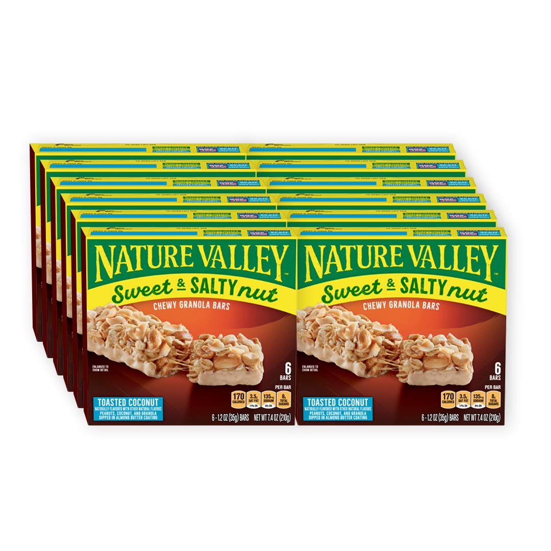 Nature Valley Granola Bars Sweet And Salty Nut Toasted Coconut 7 4 Ounce Pack Of 12 One Pack Contains 6 Bars Of 1 2 Ounce Each Amazon Com Grocery Gourmet Food
