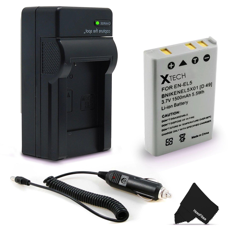 High Capacity Replacement Nikon EN-EL5 Battery with AC/DC Quick Charger Kit for Coolpix P3, P4, P80, P90, P100, P500, P510, P520, P530, P5000, P5100, P6000, S10, 3700, 4200, 5200, 5900, 7900 Cameras