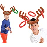 KOVOT Two-Player Inflatable Reindeer Ring Toss Game - Game Rules Included (2 Antlers 8 Rings)