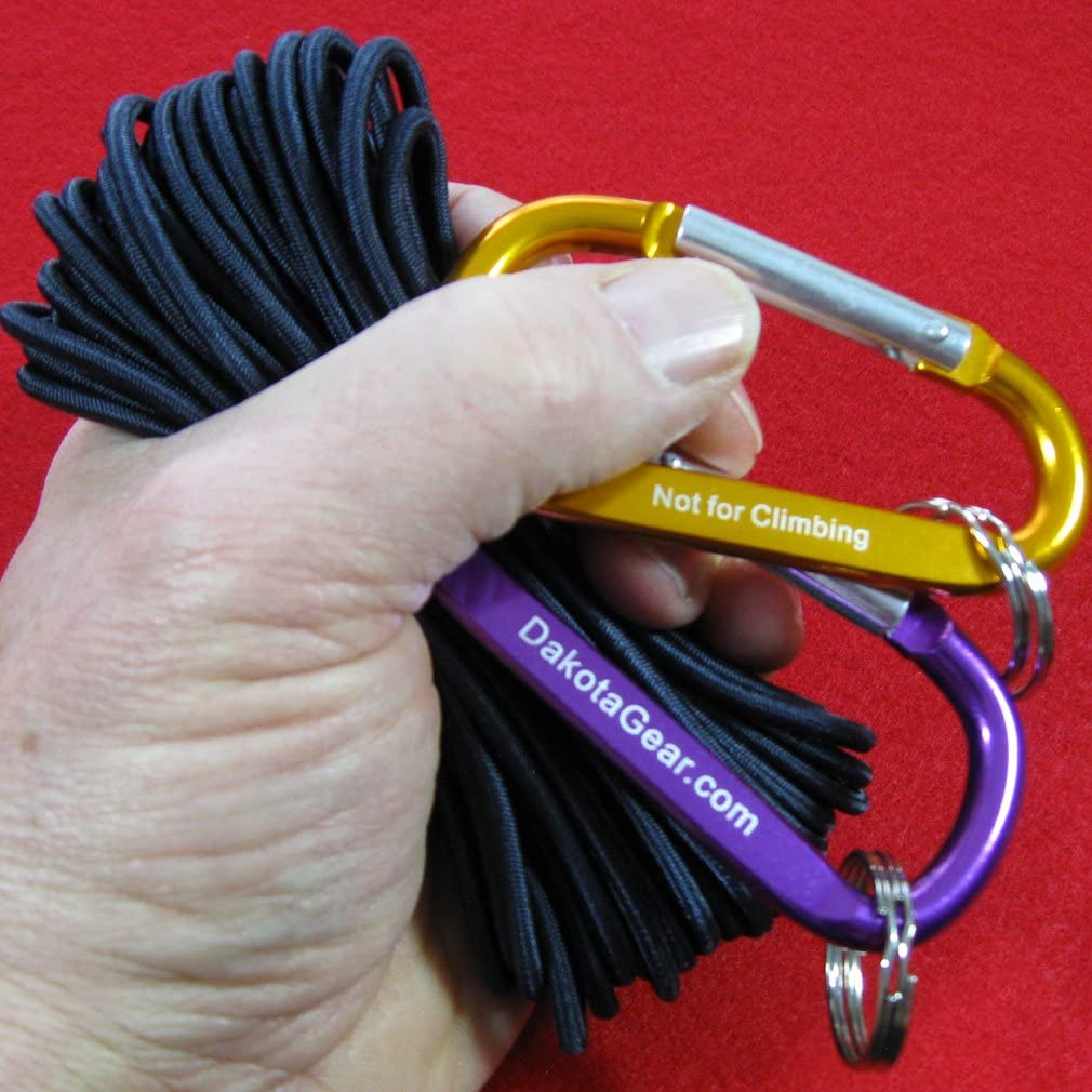 with 2 Carabiners /& Knot Tying eBook Spool Dakota Gear Stretch Cord /& Elastic Cord. Shock Cord Black 3//16 x 50 ft Also Called Bungee Cord TM Marine Grade