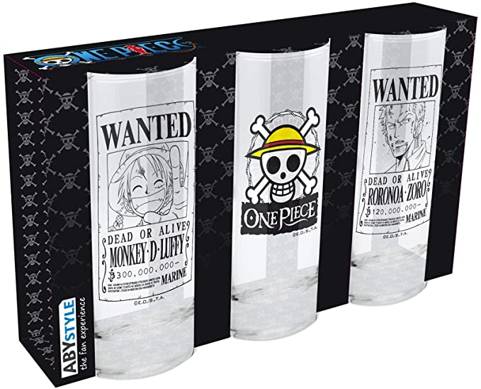 ABYstyle One Piece - Juego de 3 vasos con diseño de calavera, wanted Luffy y wanted Zorro: Amazon.es: Hogar