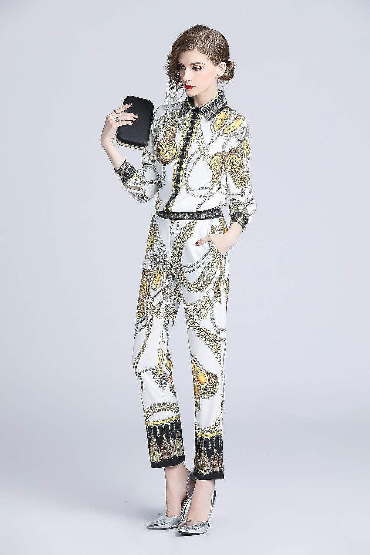 Pants Suits 2018 Fall Runway Two Piece Women Ladies Sets Vintage Print Long Sleeve Shirt Top Blouse