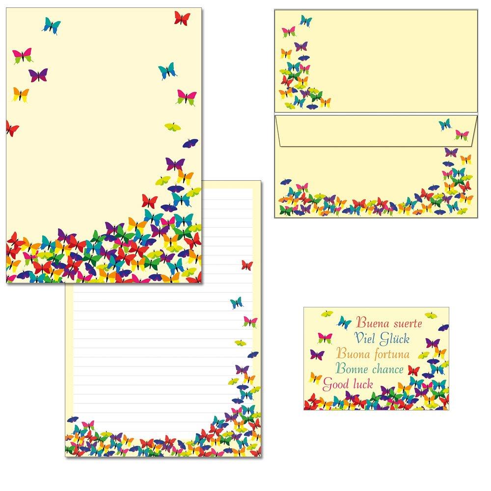 Blocco di carta da lettere con motivo a farfalle, DIN A4, con buste lunghe e 2cartoline 1 Schreibblock + 20 Kuverts mit Mappe Konzept-G 7210+6931+1175