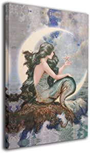 "MARTOO ART Mermaid Moon Starfish Stars Wall Artworks Painting for Home Decoration Bathroom Wall Decor Canvas Prints Pictures 8""x12"""