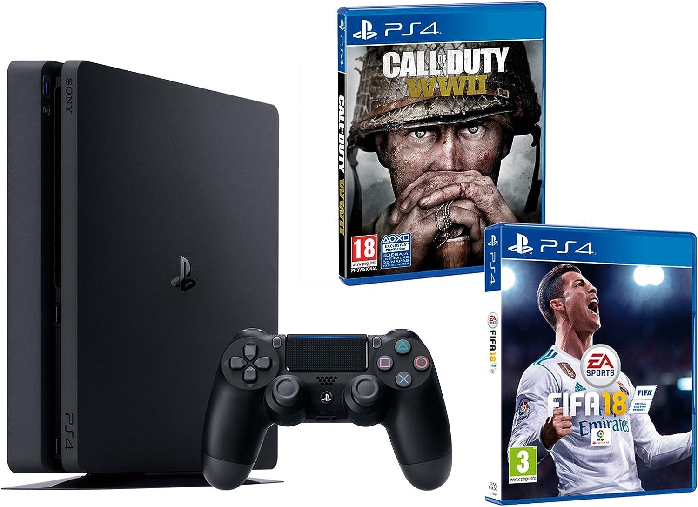PS4 Slim 1Tb Negra Playstation 4 Consola - Pack 2 Juegos - FIFA 18 + Call of Duty WW2: Amazon.es: Videojuegos