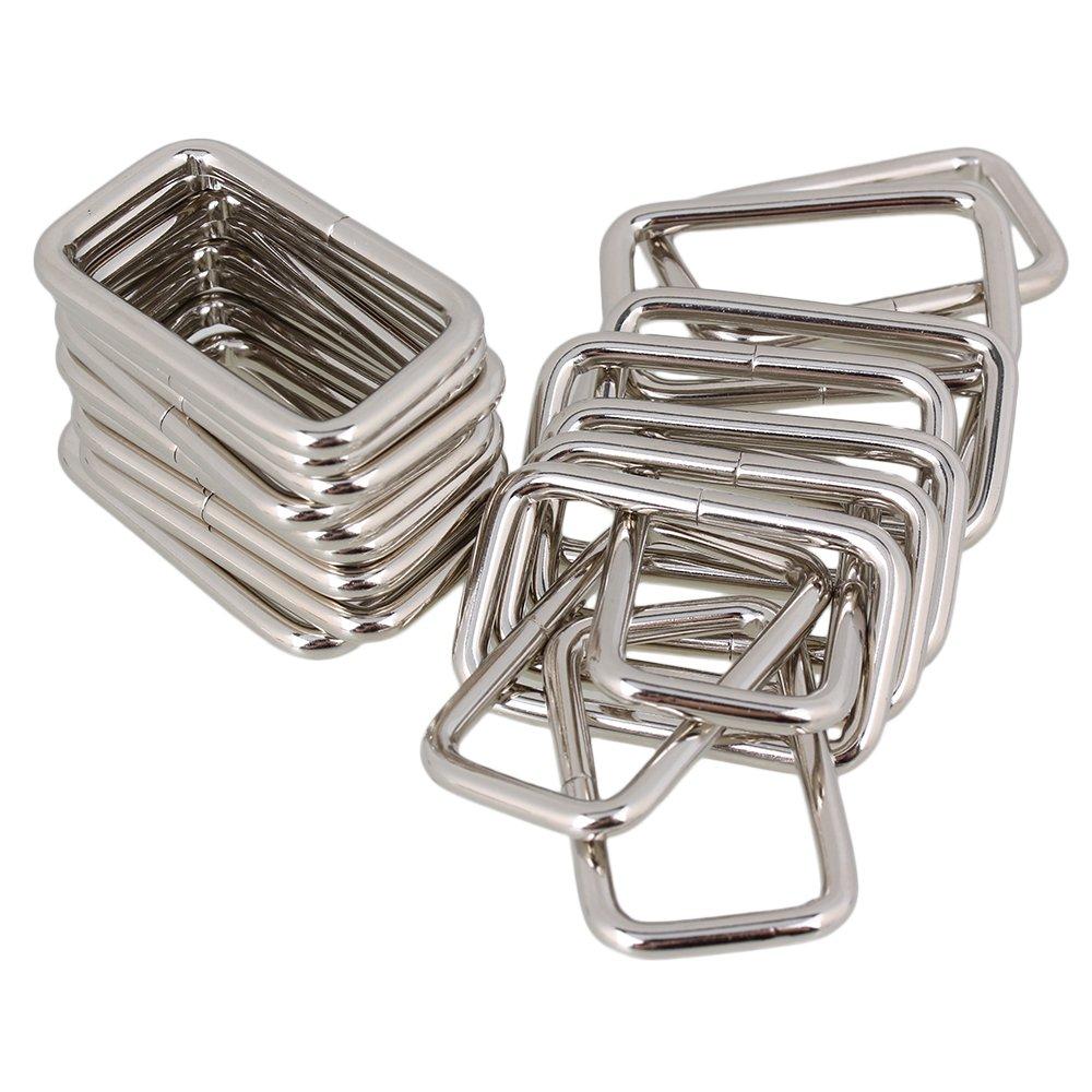 BQLZR Silver Rectangle Metal Dee Ring D Cintura per cintura Cintura per nastro 20 mm Strap Adjuster Confezione da 20 N08589