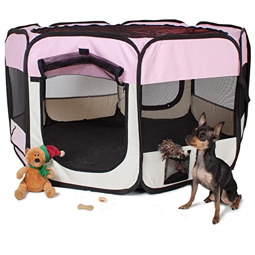 TecTake Parque para cachorros recinto parque para animales perros gatos - disponible en diferentes colores - (Rosa | no. 400733): Amazon.es: Productos para ...