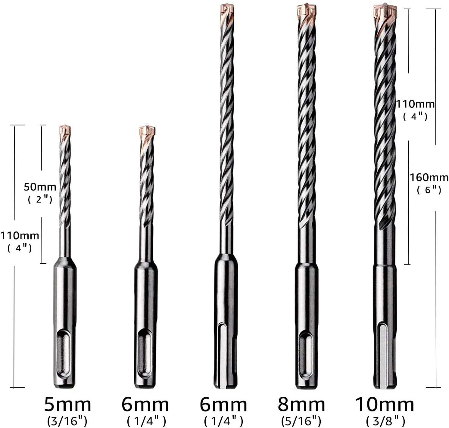EZARC Professional 5 tlg Hammerbohrer SDS Plus 4-Cutter f/ür Beton und Mauerwerk, Robust Line, Zubeh/ör Bohrhammer