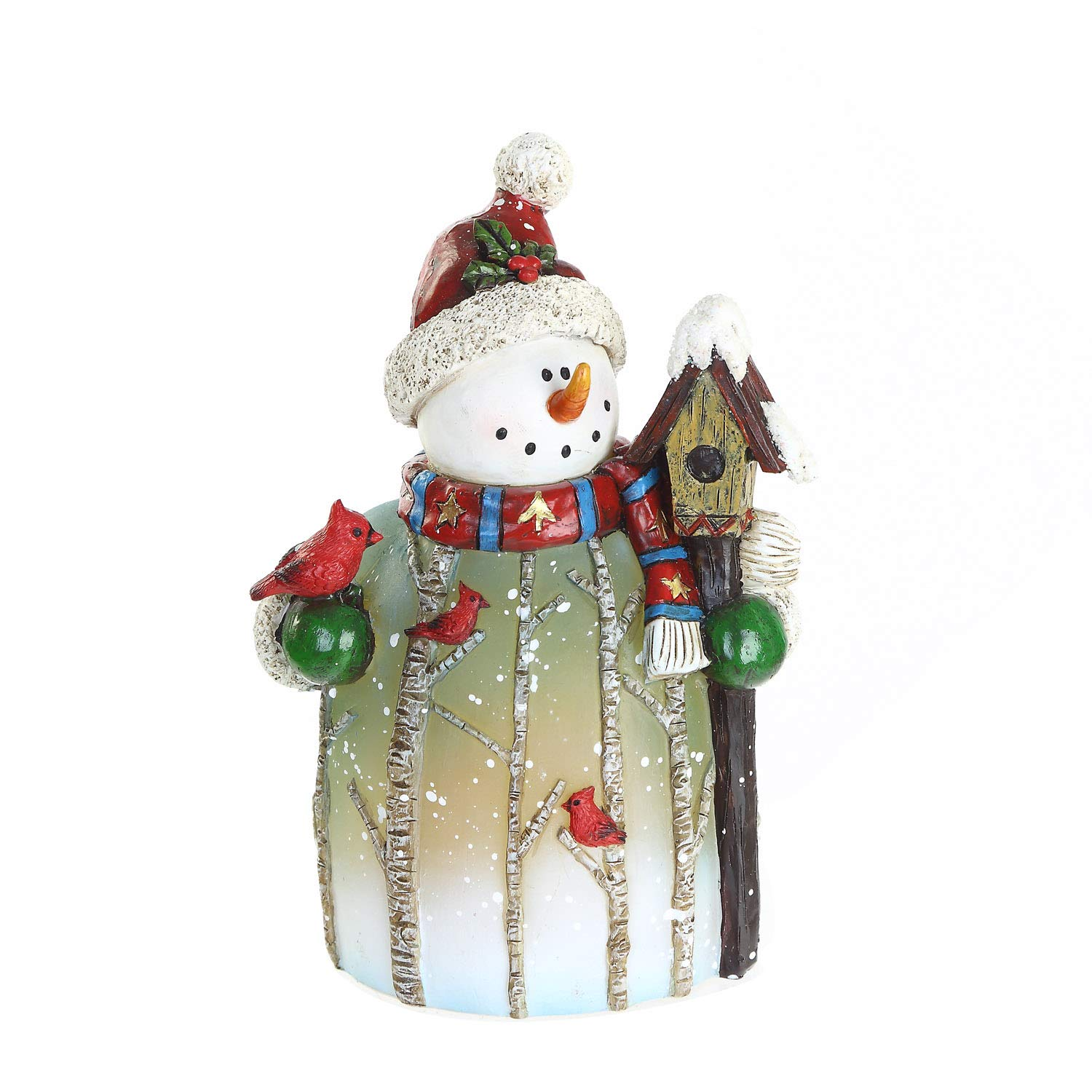 CEDAR HOME Snowman Statue with House Table Deocr Winter Scene LED Light Christmas Home Decoration Figurine Holiday Gift, 4.75''W x 3.25''D x 7''H