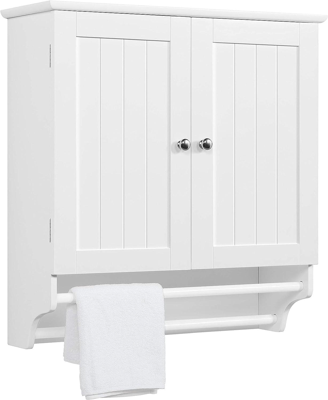 Amazon Com Yaheetech 2 Door Wood Wall Mount Storage Organizer Medicine Cabinet Cupboard W 2 Towel Bars Height Adjustable Shelf For Bathroom Kitchen Living Room Large Space Saver White Home Kitchen