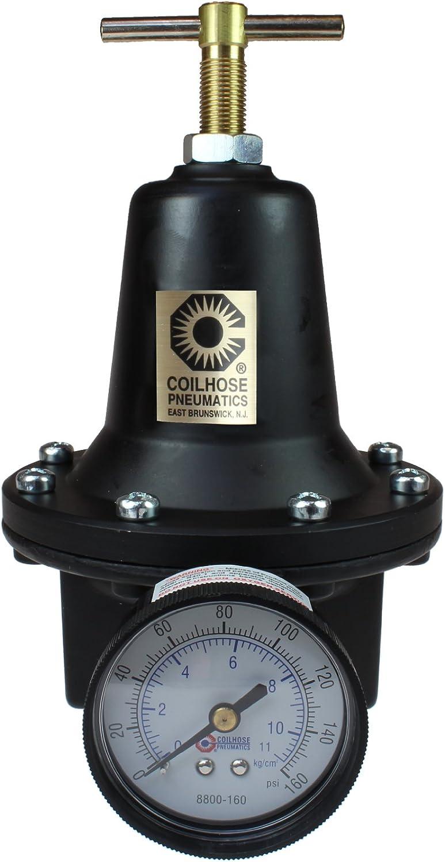 """0-200 psi Gauge Coilhose Pneumatics 8808GH Heavy Duty Series Regulator 1/"""""""