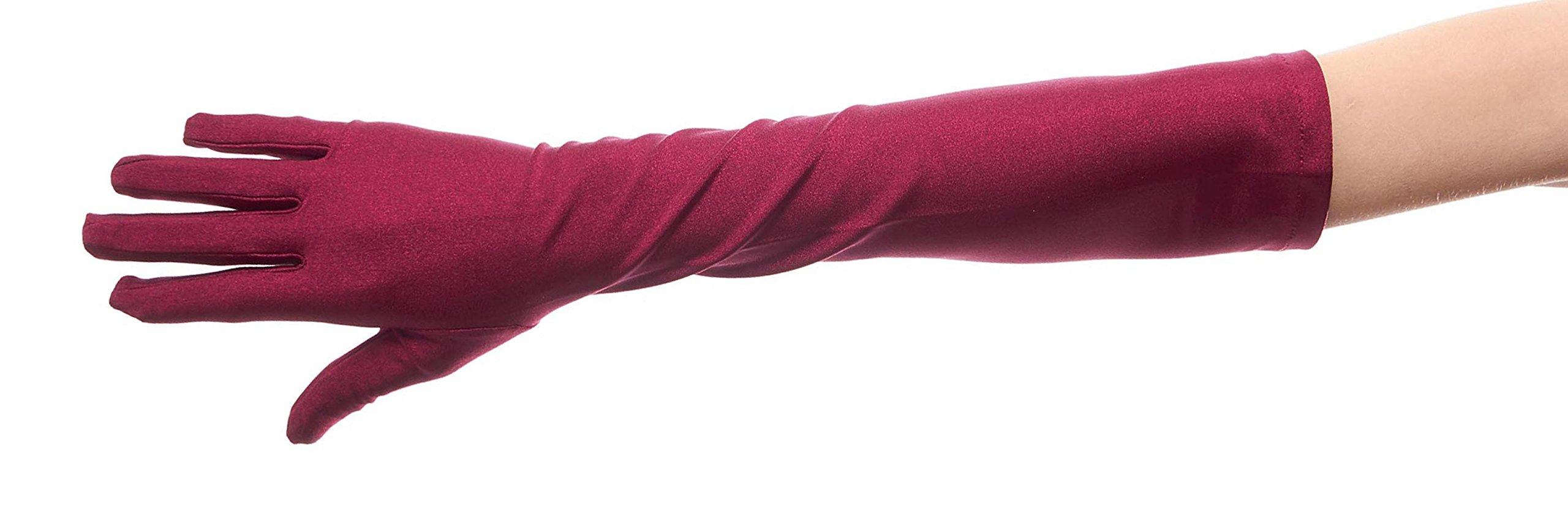 Over Rainbow Matte Satin Above Elbow Gloves, Burgundy