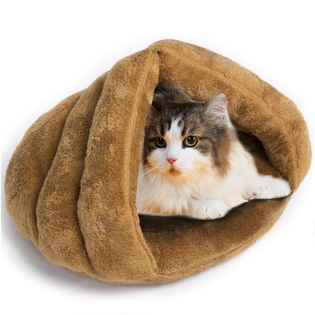 Leosi - Saco de dormir para gato con diseño de cachorros y gatos, grueso, completo y con media cubierta: Amazon.es: Productos para mascotas
