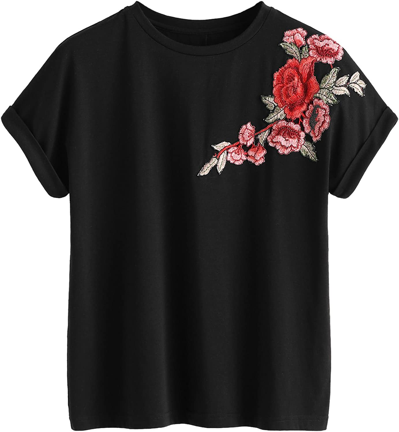 Romwe Women's Floral Embroidery Cuffed Short Sleeve Casual Tees T-Shirt Tops