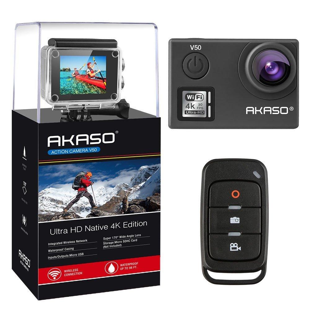 AKASO Action Cam V50 PRO Ultra HD 4K/30fps 20MP Action Kamera mit Touchscreen, 30m Unterwasserkamera Helmkamera wasserdicht mit Fernbedienung, Bildstabilisierung(EIS), 170°Weitwinkel, LCD, Zeitrafferfilm, Slow Motion Film und 2 wiederaufladbare Batterien u