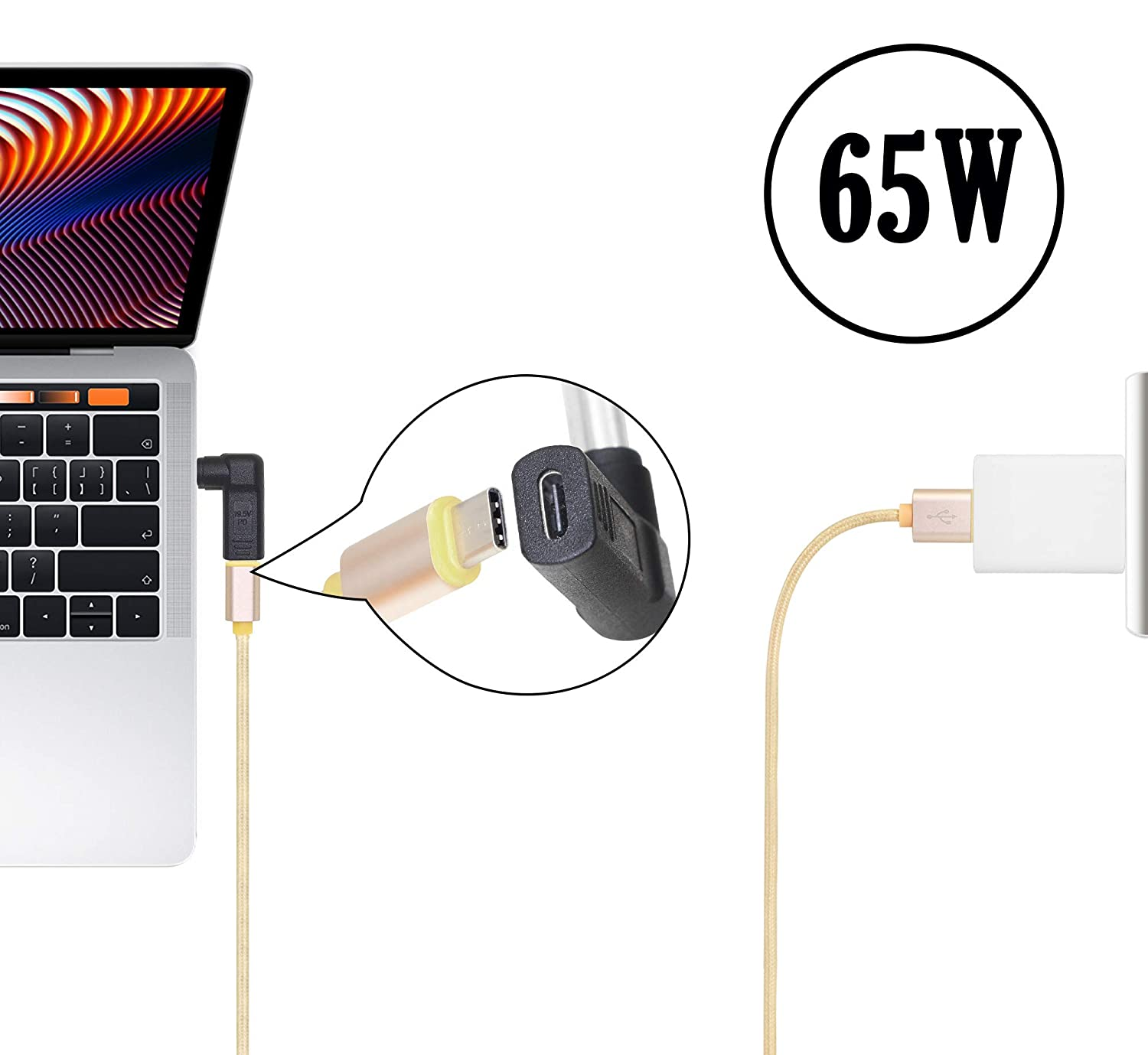 Power Charging Cable Compatible for Dell Latitude E6420 E6430 E6430s E6430U E6440 E6500 E6510 65W PD USB Type C Male Input to DC 7.4mm x 5.0mm Male 7.4mm x 0.6mm 3.3 FT