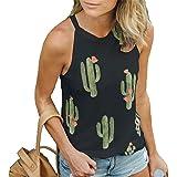 pfpeng Women's Cactus Print Sleeveless T-Shirts Tees Casual Vest Blouse Tanks