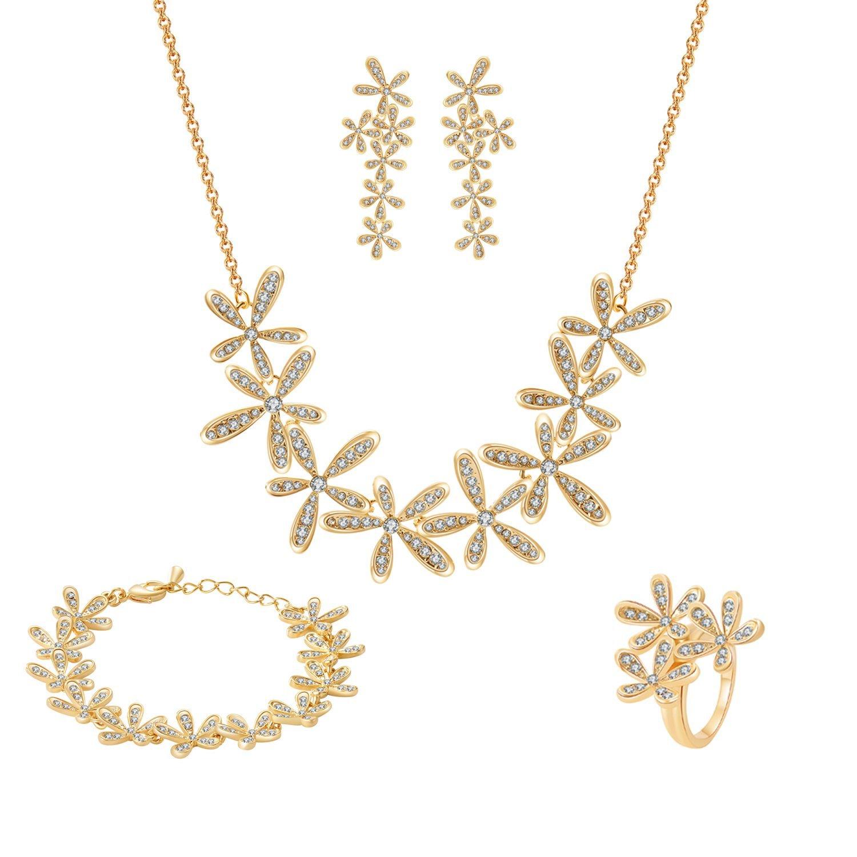 Damen Schmuckset mit Swarovski Kristall 18K Gold Set Frühling Blume Kette Länge 40+5CM Armband 17+4CM Ohrring Ringgröße 56(17.8) von Changeable TAOTAOHAS QS11182