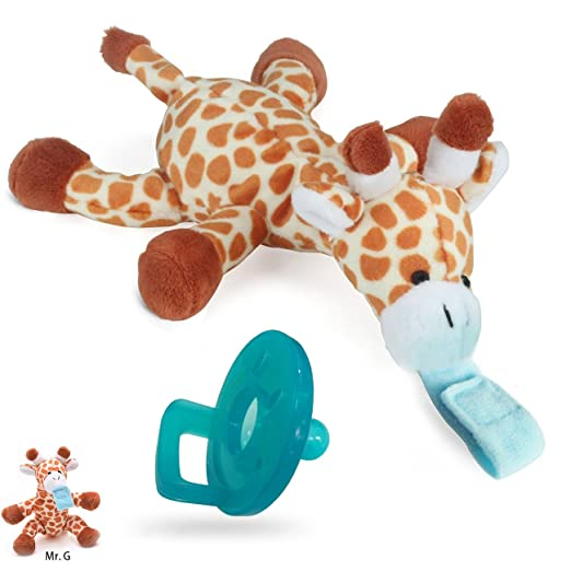 UDS Baby Pacifier, Giraffe Pacifier Holder with Removable Plush Stuffed Animal as Pacifier Holder for Baby