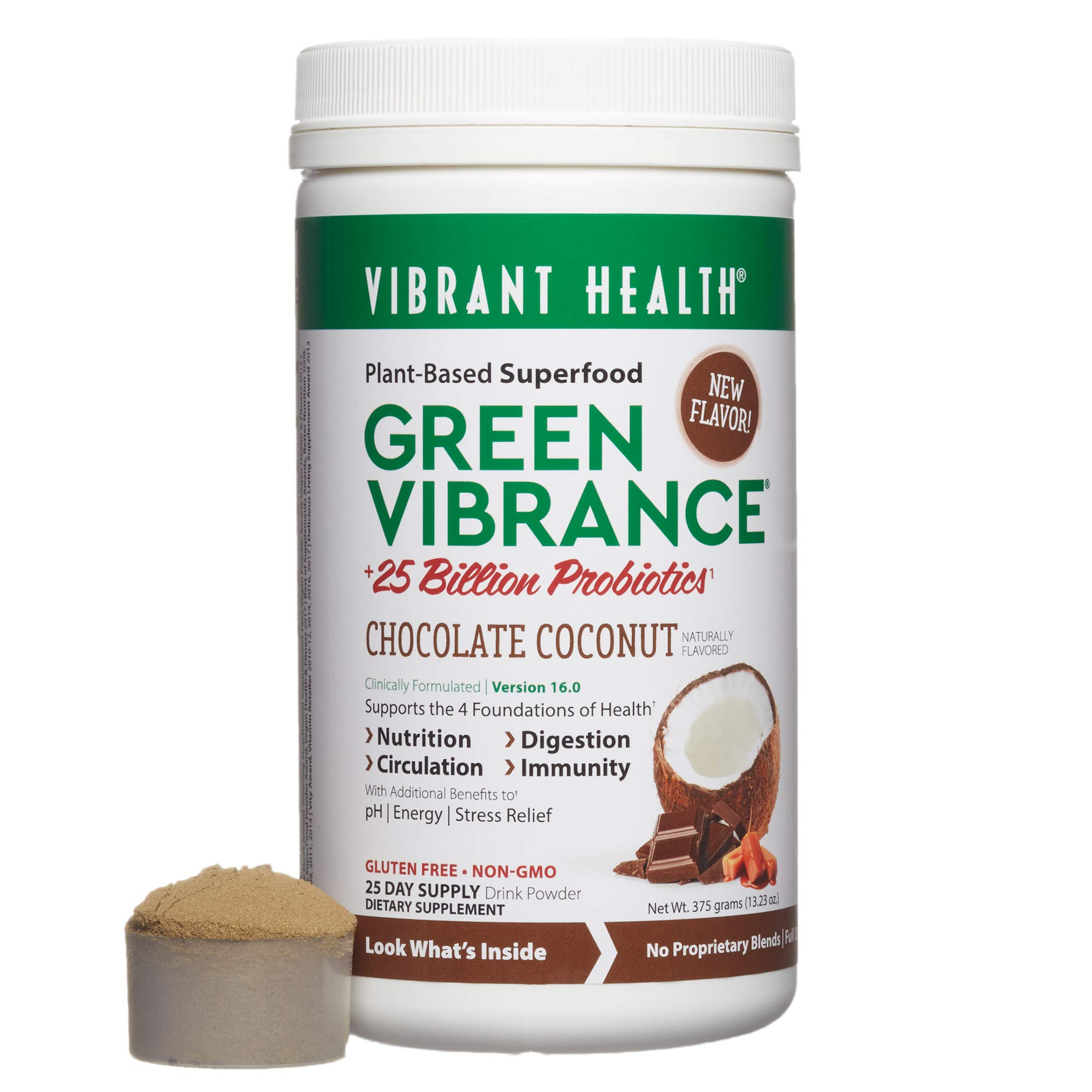 Vibrant Health - Green Vibrance, Plant-Based Superfood to Support Immunity, Digestion, and Energy, 25 Billion Probiotics, Gluten Free, Non-GMO, Vegetarian, Chocolate Coconut, 25 Servings