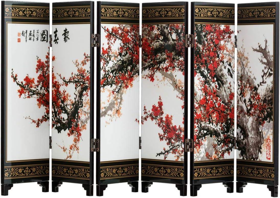 TJ Global 6-Panel Traditional Chinese Art for Home Decoration - Decorative Lacquerware, Home Decor, Lacquer, Oriental, Mini Divider (Cherry Blossom)