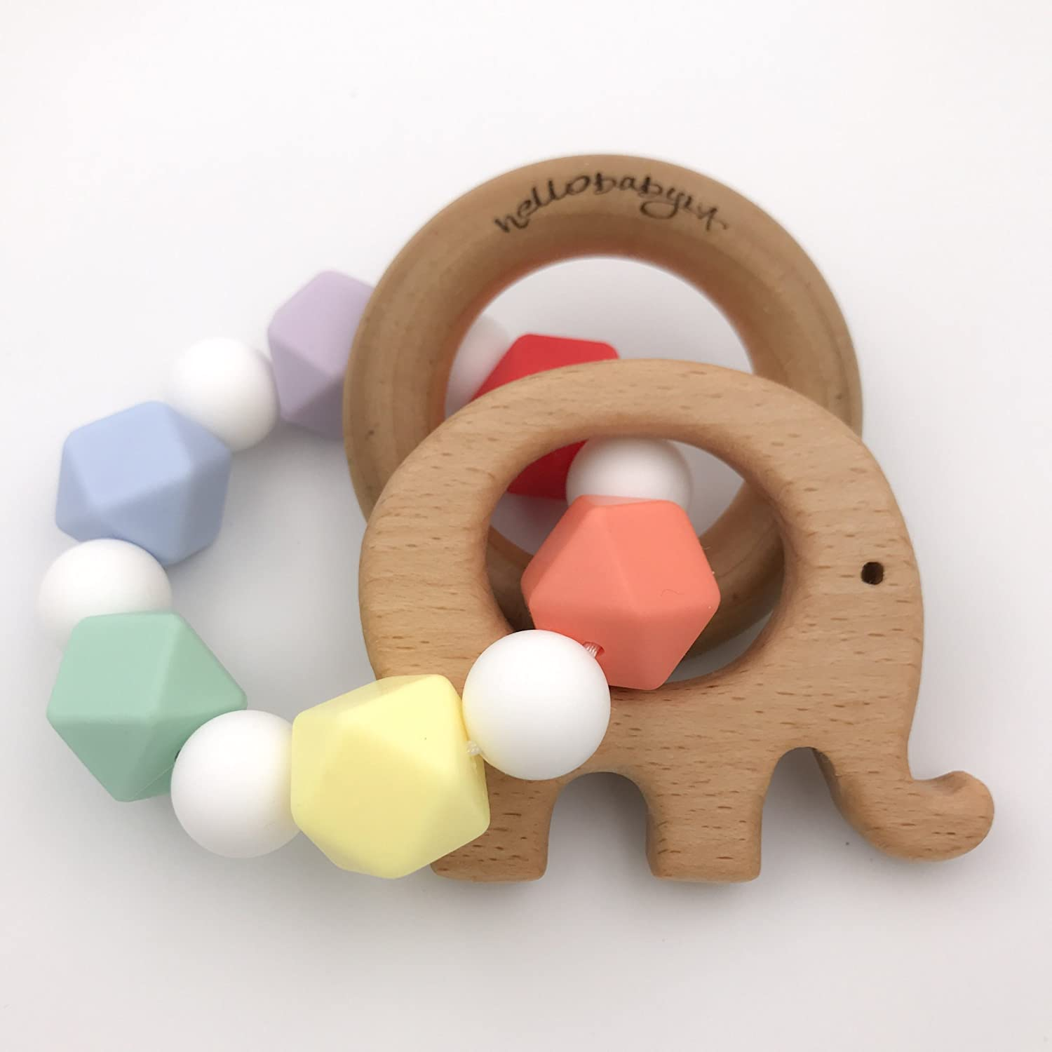 Elephant Rainbow Baby Teether Rattle