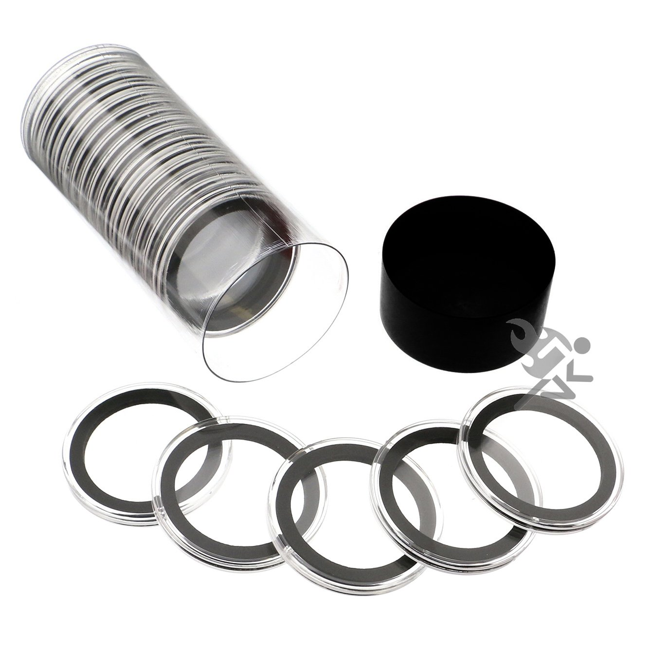 Black Lid Capsule Tube & 20 Air-Tite 38mm Black Ring Coin Holders for 1oz Silver Dollars