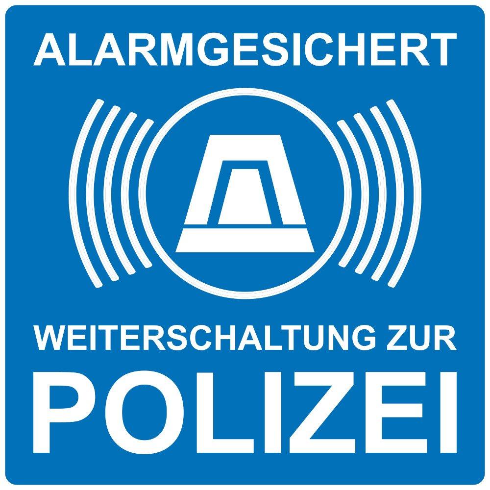wall-art-design® 1 Stück Aufkleber Alarmgesichert Weiterleitung zur Polizei, blau, selbstklebend, kratz und Wetterfest