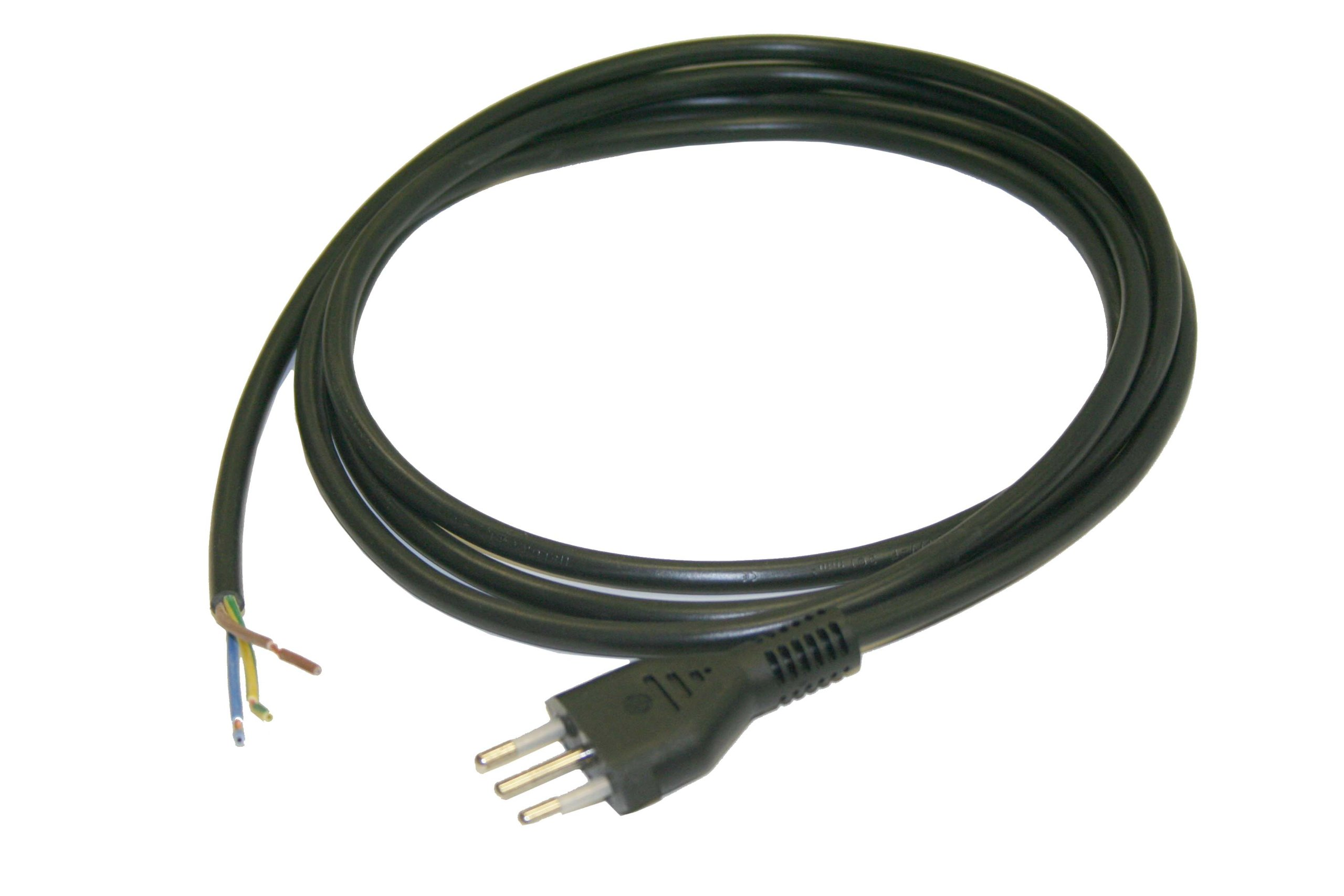 Interpower 86531040 Italian Cord Set, CEI 23-50 S11 Plug Type, Angled IEC 60320 C13 Connector Type, Black Plug Color, Black Cable Color, 10A Amperage, 250VAC Voltage, 2.5m Length